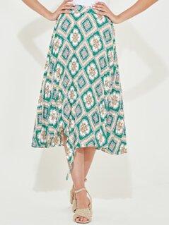 Scarf Print Ruffle Trim Skirt