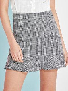 Houndstooth Ruffle Hem Skirt
