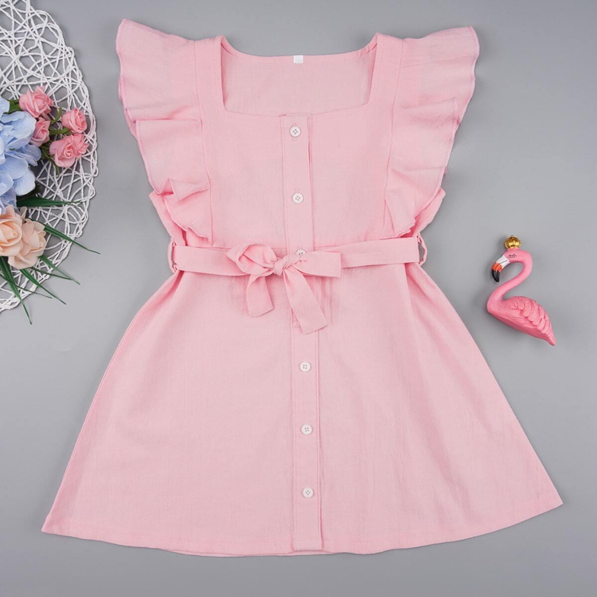 Roze  Schattig Vlak Kleutermeisjes jurkjes Rimpeling