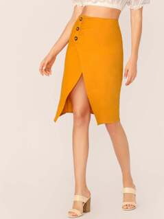 Button Detail Front Slit Midi Linen Skirt