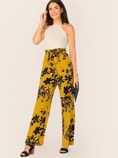 Paperbag Waist Tie Sleeveless Floral Jumpsuit