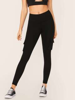 High Waisted Side Cargo Pocket Leggings
