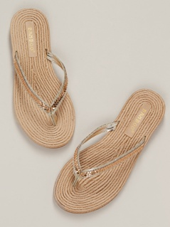Crystal Thong Strap Jute Sole Flat Sandals