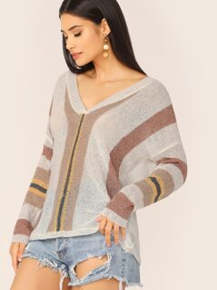 V-Neck Loose Knit Striped Pullover Sweater