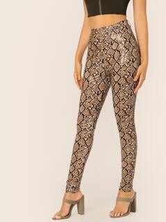 Snakeskin Latex Slim Skinny Fit Pants
