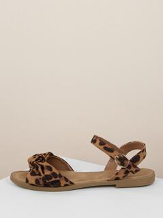 Leopard Bow Band Buckled Ankle Strap Sandals