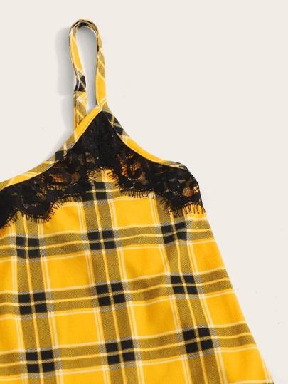 Фото 3 - Атласная пижама в горошек для девочек от SheIn цвет тёмно-синие