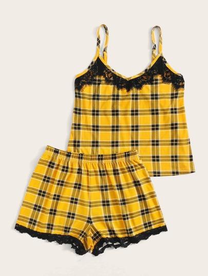 Фото 2 - Атласная пижама в горошек для девочек от SheIn цвет тёмно-синие