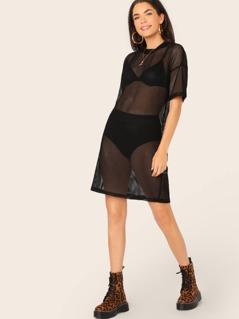 Sheer Mesh Fishnet Short Sleeve Shirt Dress