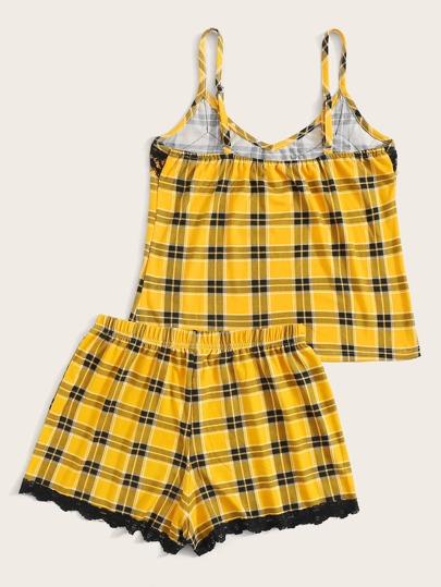 Фото 5 - Атласная пижама в горошек для девочек от SheIn цвет тёмно-синие