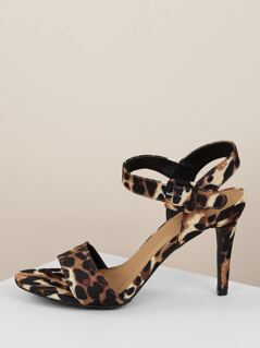 Leopard Toe Band Buckled Ankle Strap Heel Sandals