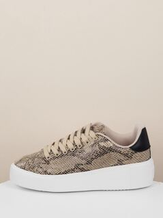 Lace Up Chunky Sole Snakeskin Sneakers