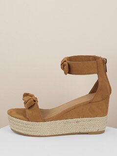 Open Toe Bow Strap Back Zip Platform Wedges