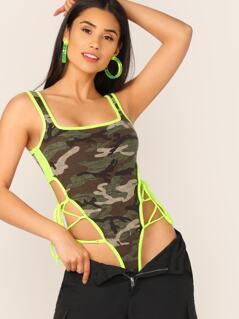 Neon Trim Sleeveless Camo Lace Up Side Bodysuit