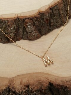 Bamboo Detail Initial M Necklace