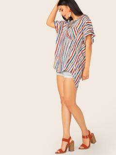 Button Up Double Pockets Dip Hem Stripe Shirt