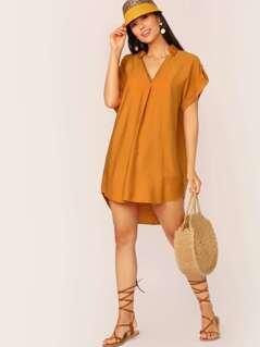 V-Neck Cuffed Sleeve Oversized Shirt Dress