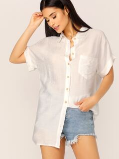 Button Up Single Pocket Cuffed Sleeve Boyfriend Shirt