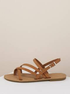 Multi Strap Buckled Wrap Ankle Flat Sandals