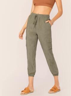 Elastic Drawstring Waist Slim Cargo Pants
