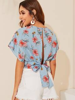 Wide Band Hem Bow Tie Back Crop Wrap Top