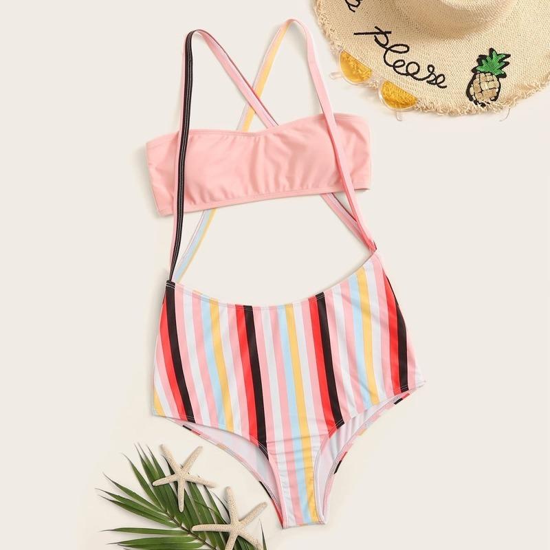 Bandeau Top With Striped Suspender Two Piece Swim, Multicolor