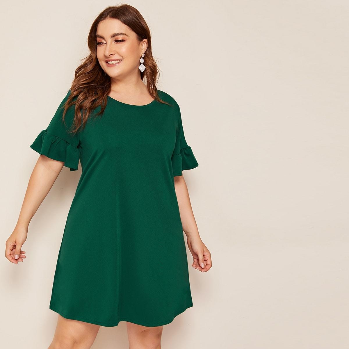 shein Groen Casual Vlak Grote maten jurken