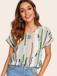 Rolled Cuff Striped Top