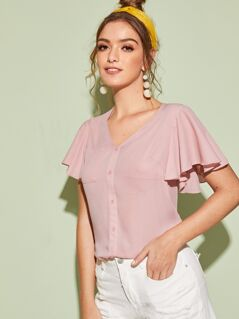Button Front Flutter Sleeve Pocket Patched Top