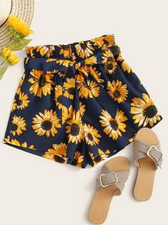 Sunflower Print Paperbag Waist Belted Shorts