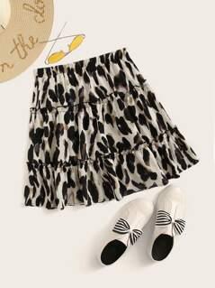Leopard Print Frill Trim Flippy Hem Skirt