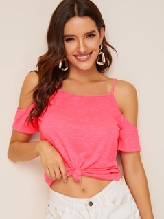 Neon Pink Cold Shoulder Solid Tee
