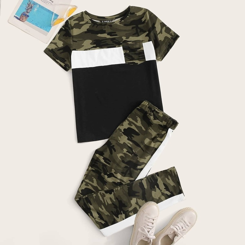 Pocket Patched Colorblock Camo Top and Pants Set, Army green