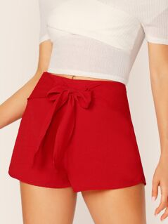 Tie Front Solid Shorts