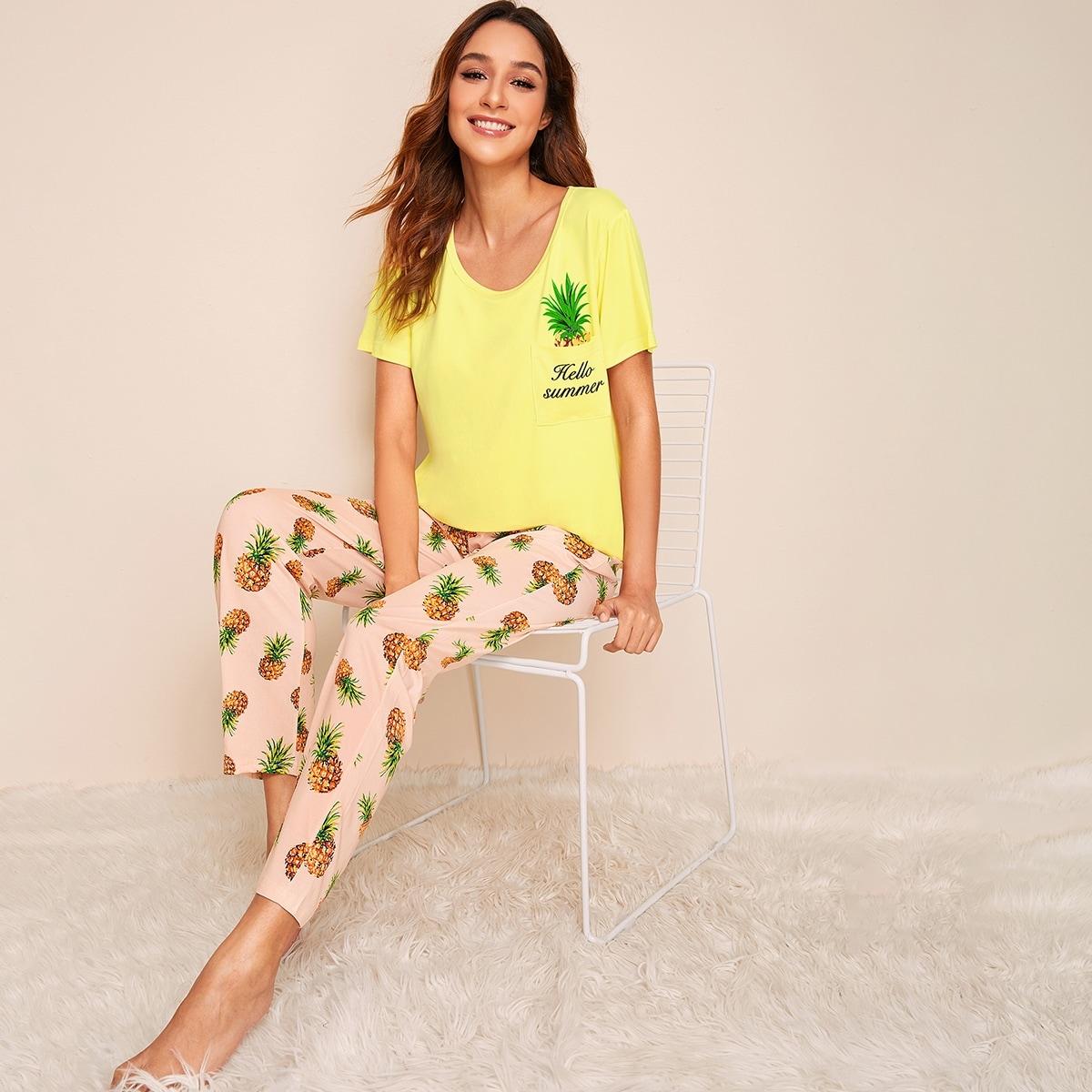 Pineapple & Letter Print Pajama Set