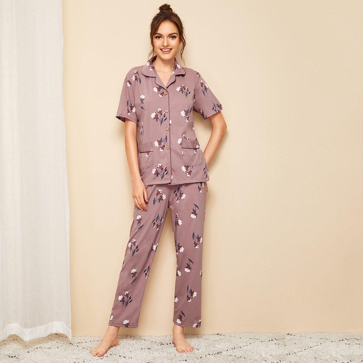 Пижама с цветочным принтом от SHEIN
