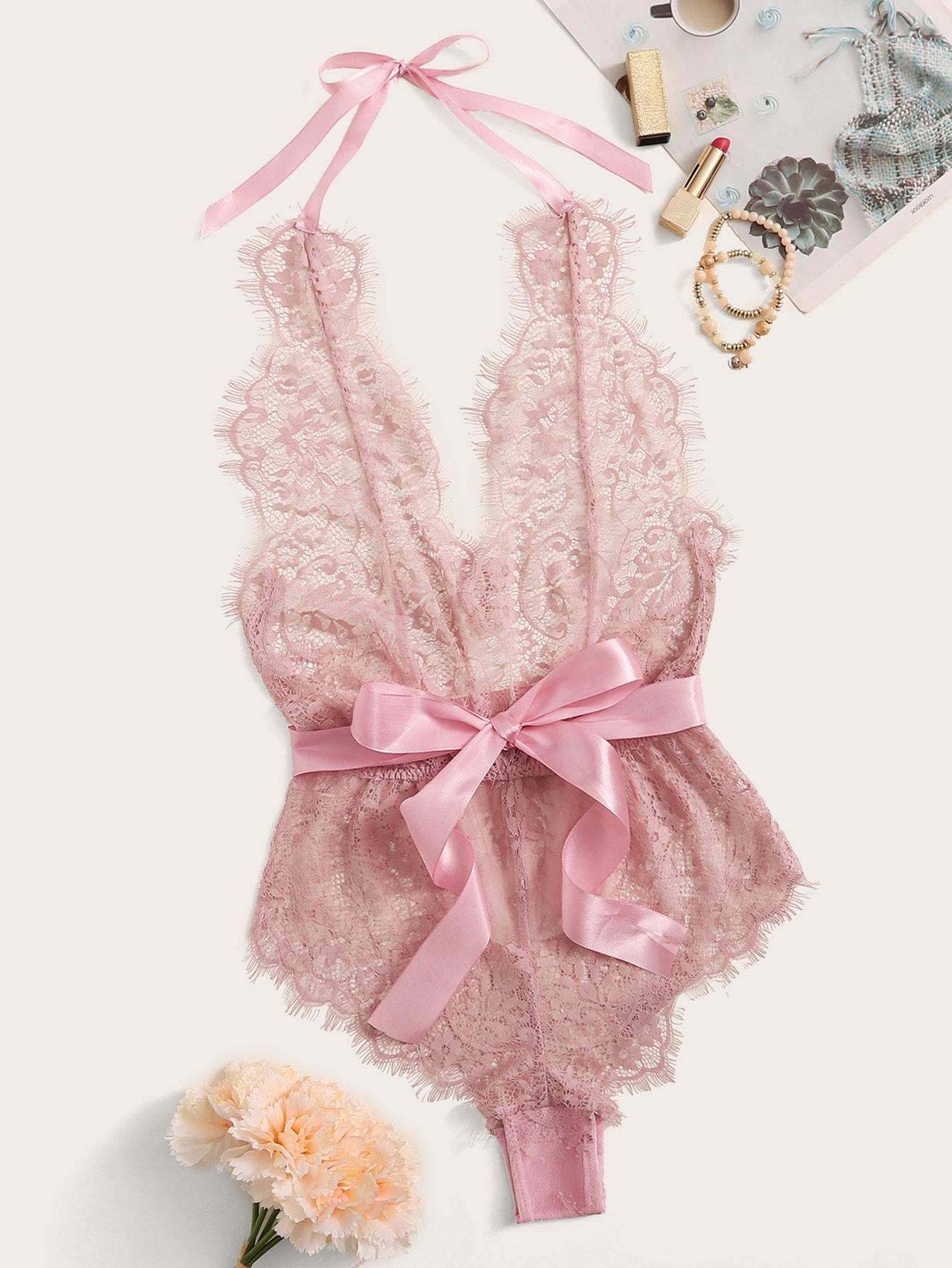Розовое Кружевное Боди Тедди