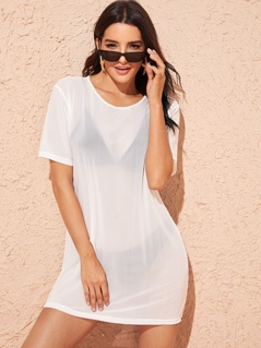 Solid Sheer Cover Up Without Lingerie