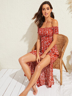 Ditsy Floral Print Split Thigh Shirred Bardot Dress