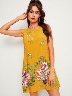 Floral Print Sleeveless Trapeze Dress