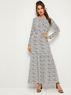 Tie Neck Love Print Frill Trim Maxi Dress