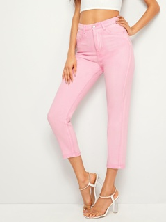 Solid Tapered Crop Jeans