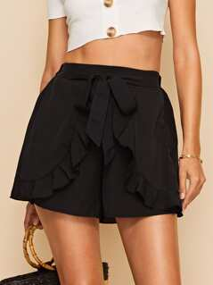 Ruffle Trim Belted Wrap Shorts