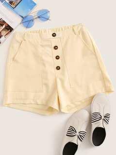 Button Front Slant Pocket Shorts
