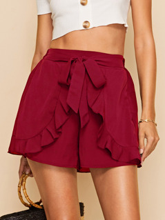 Tie Waist Ruffle Trim Wrap Shorts