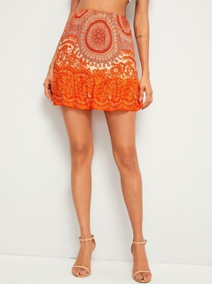 Flippy Hem Tribal Print Skirt