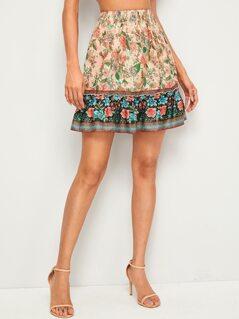 Flippy Hem  Floral Print Skirt