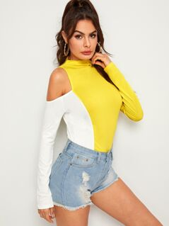 Neon Yellow Cold Shoulder Form Fitting Tee