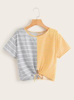 Two Tone Knot Hem Striped Top