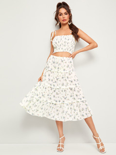 Ditsy Floral Shirred Crop Cami & Layered Skirt Set
